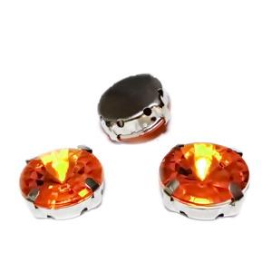 Margele montee rhinestone, plastic, rotunde, portocalii, 14x6.5mm 1 buc