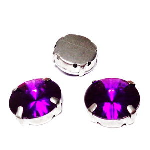 Margele montee rhinestone, plastic, rotunde, violet, 16x8mm 1 buc