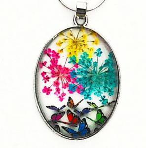 Pandantiv metalic, 52x32x9mm, cabochon sticla 40x30mm, flori multicolore, model 10 1 buc