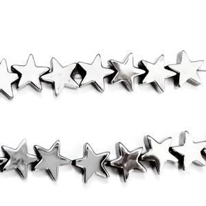 Margele hematite nemagnetice, placate argintiu, stea 8x8x3mm 1 buc