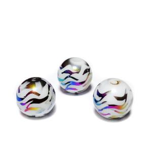 Margele sticla albe cu desen electroplacat multicolor, 10mm 1 buc