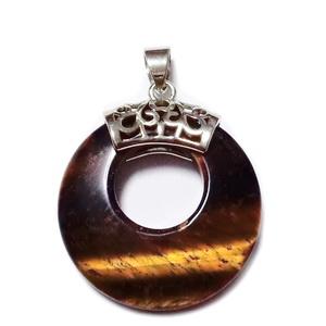 Pandantiv ochi de tigru, cu accesoriu argintiu inchis, 28x6mm 1 buc