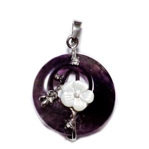 Pandantiv ametist cu accesorii metalice si floare  sidef, 35.5~36x28x8mm 1 buc