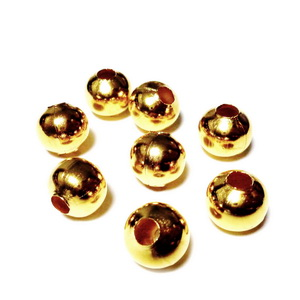 Margele metalice, aurii, 10mm 10 buc