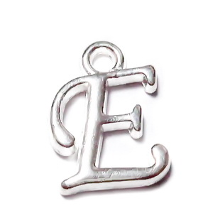 Pandantiv metalic, argintiu, litera E, 13x10x2mm 1 buc