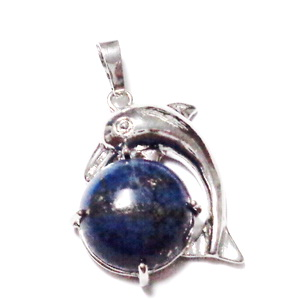 Pandantiv argintiu inchis, delfin  30x23x8mm, cabochon  Lapis Lazuli  1 buc