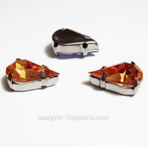 Margele montee rhinestone, plastic, portocaliu inchis, lacrima 13x8x5mm 1 buc