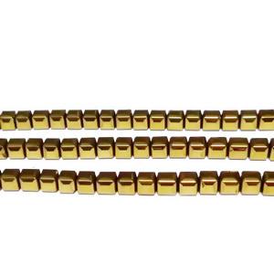 Hematite nemagnetice, placate auriu, cubice cu muchiile tesite, 3x3x3mm 1 buc