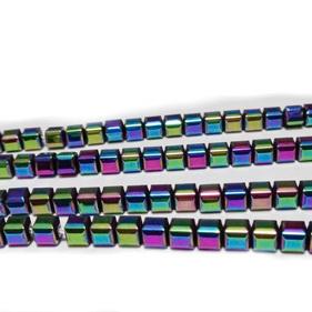 Hematite nemagnetice, placate multicolor, cubice cu muchiile tesite, 4x4x4mm 1 buc