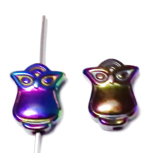 Hematite nemagnetice, placatre multicolor, bufnita 18x8x3mm 1 buc