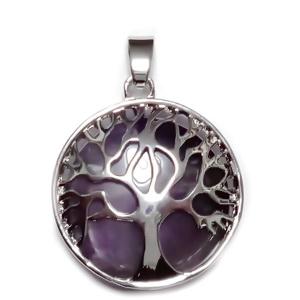 Pandantiv metalic, argintiu inchis, copacul vietii, cu cabochon ametist, 31x27x8mm 1 buc