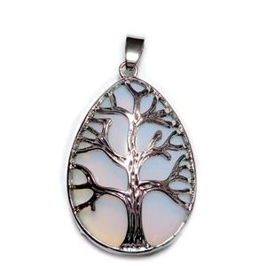 Pandantiv metalic, argintiu inchis, copacul vietii, cu cabochon opalit, lacrima 45x26mm 1 buc