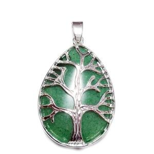 Pandantiv metalic, argintiu inchis, copacul vietii, cu cabochon aventurin, lacrima 45x26mm 1 buc