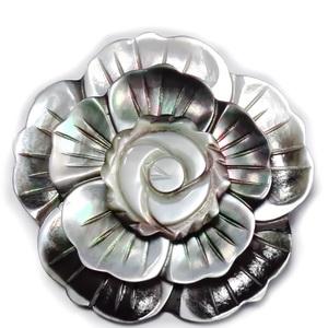 Brosa/pandantiv sidef gri inchis, floare 47mm 1 buc