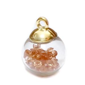 Glob sticla cu accesoriu plastic auriu si rhinestone roz somon in interior, 21x15.5~16mm 1 buc