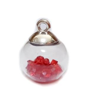 Glob sticla cu accesoriu plastic auriu si rhinestone rosu in interior, 21x15.5~16mm 1 buc