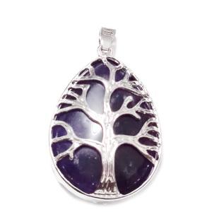 Pandantiv metalic, argintiu inchis, copacul vietii, cu cabochon ametist, lacrima 45x26mm  1 buc
