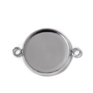 Baza cabochon, otel inoxidabil 304, conector/link, 22x16x2mm, interior: 14mm 1 buc