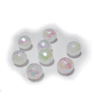 Margele plastic, multifete, albe cu refrexe AB, 8mm 10 buc