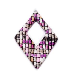 Pandantiv imitatie piele negru-mov-roz-maro, cu placa aluminiu pe verso, 54x37.5x4mm 1 buc