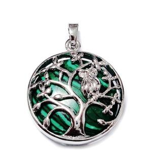 Pandantiv argintiu inchis, copacul vietii cu bufnita, cu cabochon malachit de sinteza, 32x27x9mm 1 buc