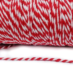 Snur bumbac rasucit, rosu cu alb, grosime 1.5~2mm, bobina cca 91 m 1 buc