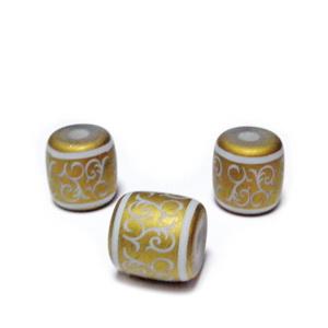 Margele sticla albe cu desen electroplacat auriu-mat, tub 12x12mm  1 buc