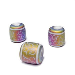 Margele sticla albe cu desen electroplacat multicolor, mat, tub 12x12mm 1 buc