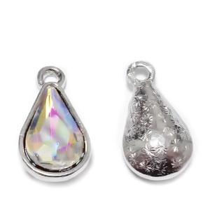 Pandantiv sticla transparent AB cu accesoriu argintiu, lacrima 18x10x5mm 1 buc