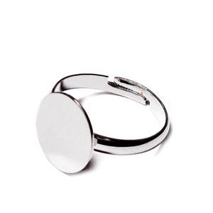 Baza inel, argintiu inchis, interior 18mm, reglabil, platou 12mm 1 buc