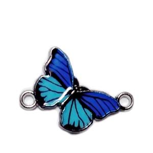 Conector / link argintiu inchis, emailat, bleu cu albastru, fluturas 14x20x2mm 1 buc