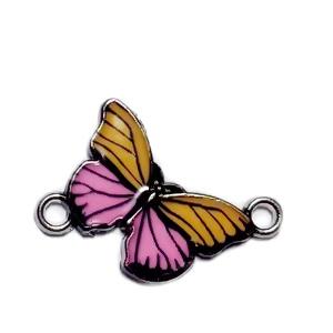Conector / link argintiu inchis, emailat, portocaliu cu roz, fluturas 14x20x2mm 1 buc