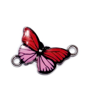 Conector / link argintiu inchis, emailat, roz cu rosu, fluturas 14x20x2mm 1 buc