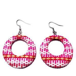 Cercei cu accesorii otel inoxidabil 304 si padantiv rafie roz cu alb, 65mm 1 pereche