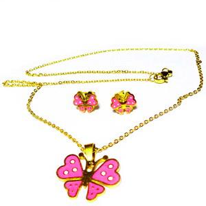 Set lantisor si cercei otel inoxidabil auriu cu fluturasi roz 1 set