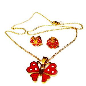 Set lantisor si cercei otel inoxidabil auriu cu fluturasi rosii 1 set