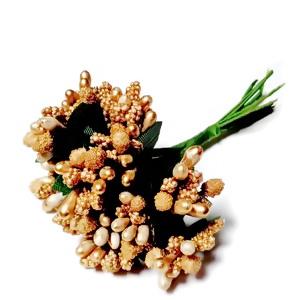 Buchet 12 flori maro-auriu, din stamine, 7-8 cm 1 set