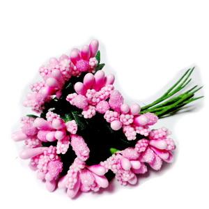 Buchet 12 flori roz, din stamine, 7-8 cm 1 set