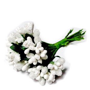 Buchet 12 flori albe, din stamine, 7-8 cm 1 set