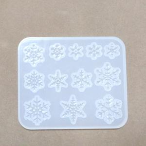 Forma modelaj din silicon alb, 12 forme fulgi de nea, 8.5x7x0.4cm 1 buc
