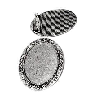 Baza cabochon, argint tibetan, brosa 51x41mm, interior 40x30mm 1 buc