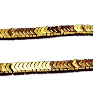 Hematite nemagnetice, placate auriu, varf de sageata, 3x3mm 1 buc