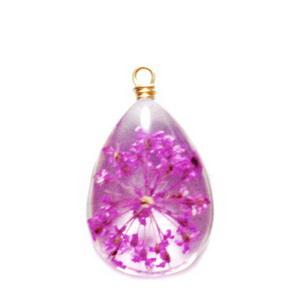 Pandantiv sticla cu flori mov in interior si accesoriu auriu, lacrima 22~24x13x8mm 1 buc