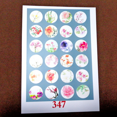 Sticker hartie pt. cabochon 18mm, 24 flori diverse-model 1 1 buc