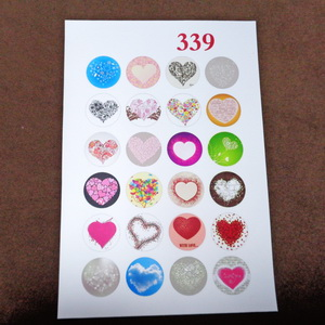 Sticker hartie pt. cabochon 18mm, 24 desene inimioare 1 buc