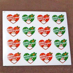 Sticker hartie  16 desene inimioare 24x28mm, cu Mos Craciun 1 buc