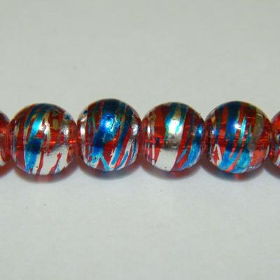 Margele sticla rosii cu albastru si argintiu 8mm 10 buc