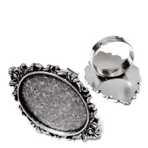 Baza inel, reglabila, argintiu antichizat, platou 38X25mm, pt. cabochon 25x18mm  1 buc