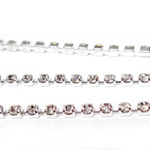 Margele montee rhinestone, insiruite, sticla transparenta pe baza argintie, 2x2mm 1 m