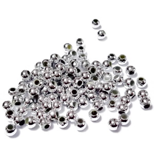 Margele plastic ABS, electroplacate, argintiu metalizat, 3mm (cca 250 bc) 3 g
